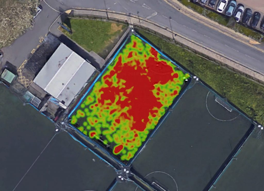 Football heatmap created in Python