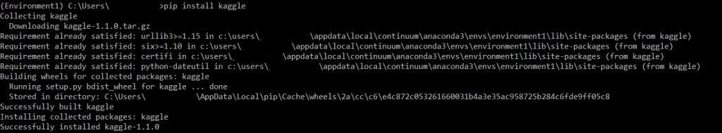 cmd pip install kaggle